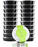 Chef's Star 20 Pack Of 3 Compartment Reusable Food Storage Containers with Lids - 26 oz - BPA Free - Microwave Safe - Dishwasher Safe - Stackable - 10 Per Pack - Set Of 2