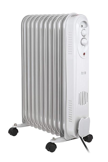 Tessa tsa8031 Teesa Radiador mobile 2500 W de calefacción eléctrica, termostato, protección contra sobrecalentamiento