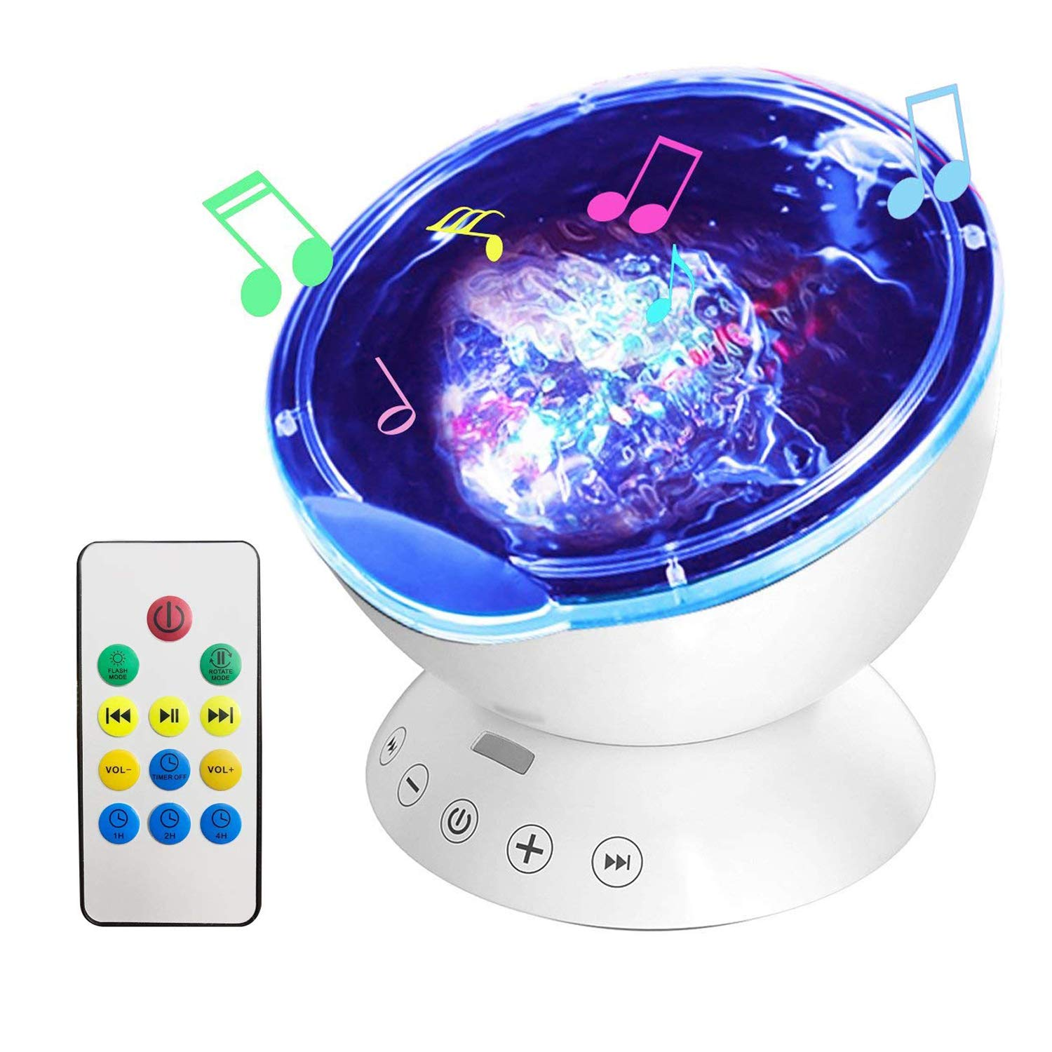 AOGUERBE Night Light Projector Ocean Wave Projector Lamp Speaker 12 LED Remote Control Built-in Music Player Lights Star Nightlight in Bedroom Living Room Party for Nursery Baby Kids Children [Black] [Energy Class A+] [Energy Class A+]