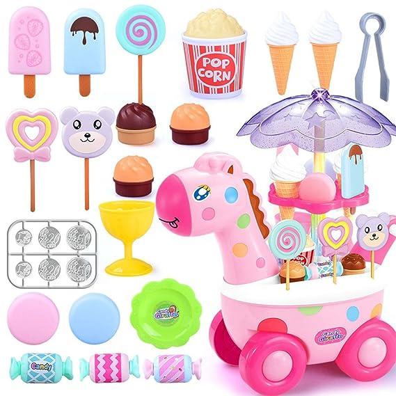 Simulación Pequeña Carros Mini Candy Cart Heladería Supermercado Juguetes para niños con música ligera: Amazon.es: Juguetes y juegos