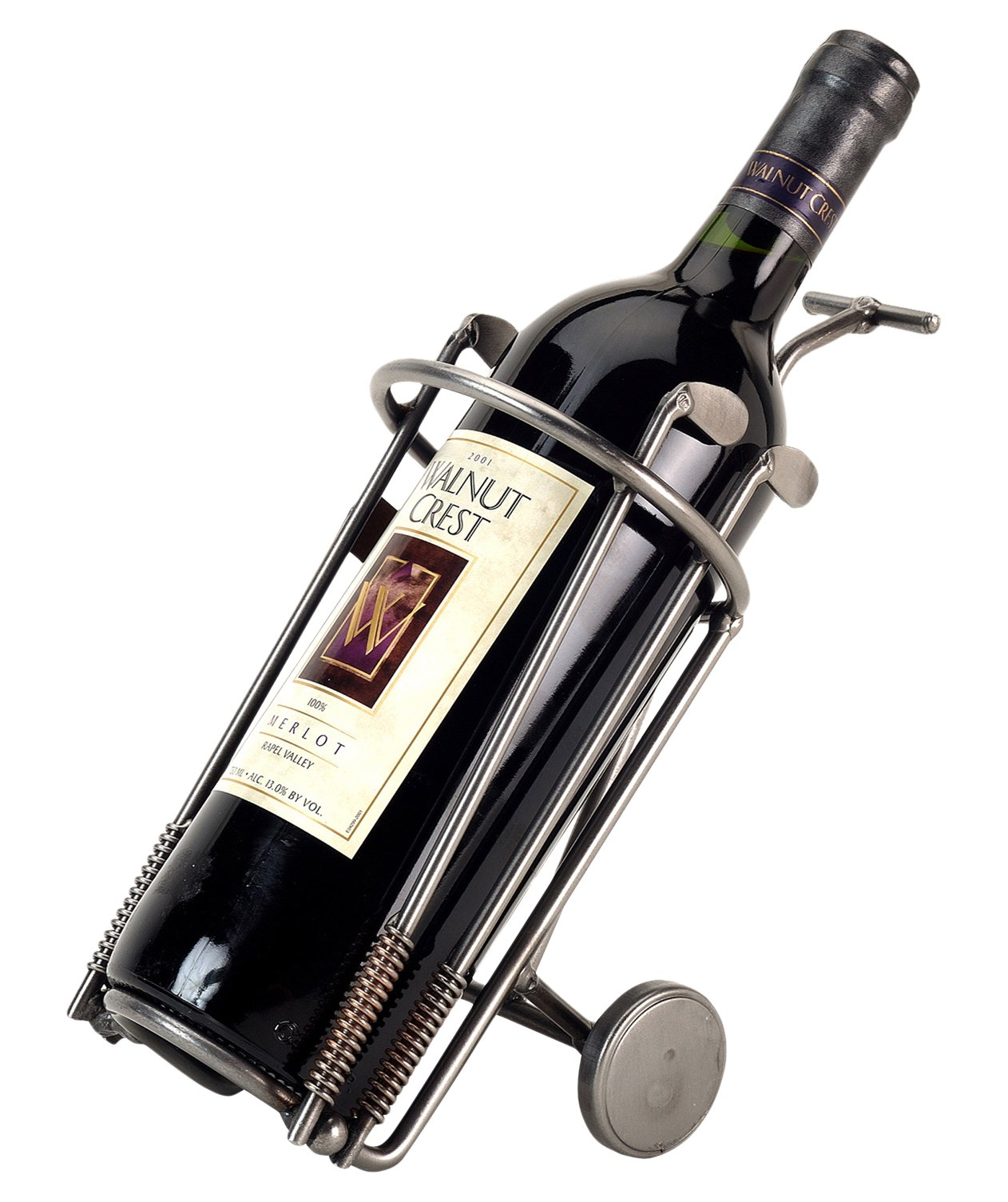 H & K Sculptures Golf Bag Wine Bottle Holder/Wine Caddy, Silver