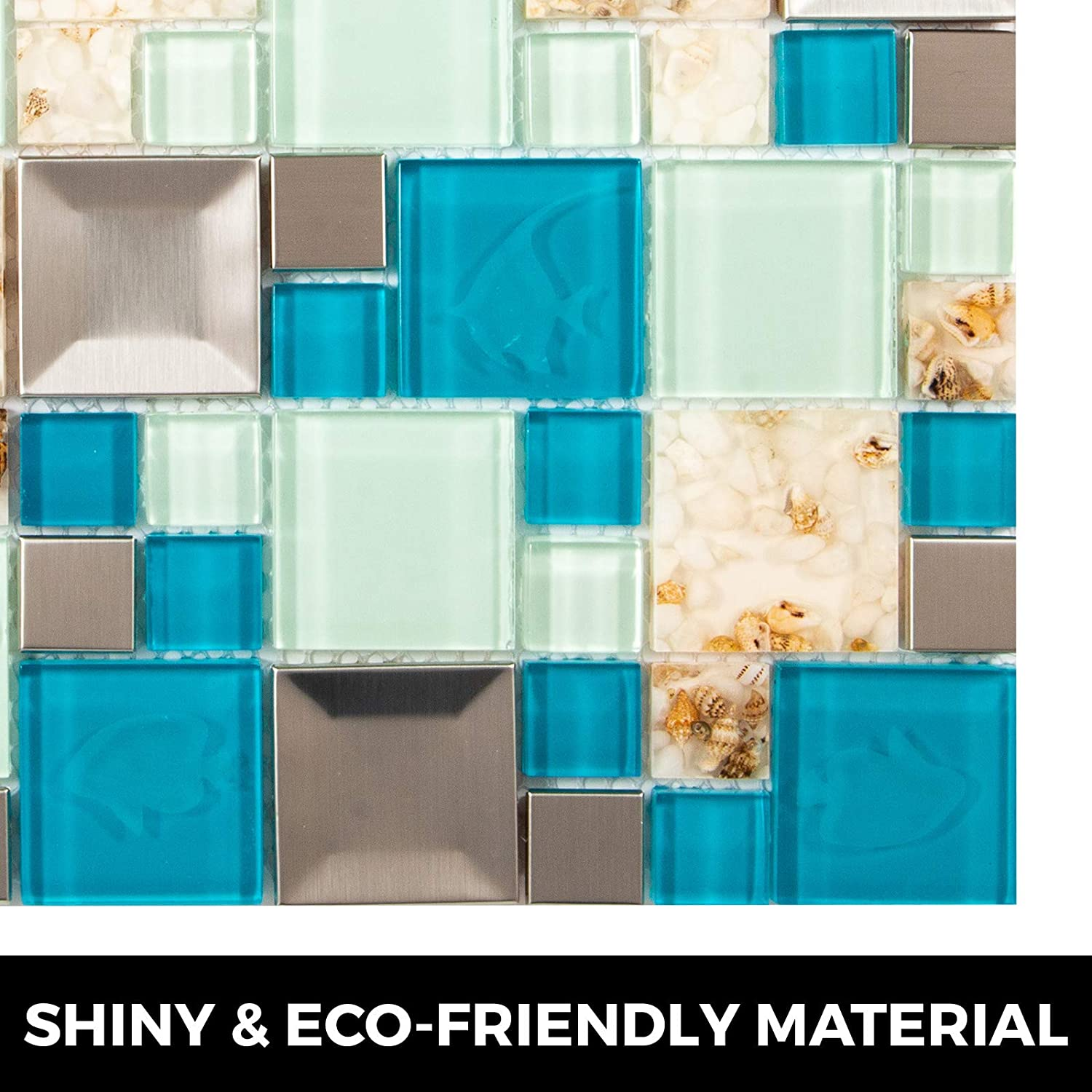 Happybuy Glass Backsplash Tiles for Kitchen 12 Sheets Glass Mosaic Tile Backsplash 12 Inchx12 Inch Glass Tiles for Backsplash 12 SqFt for Kitchen Bathroom backsplash