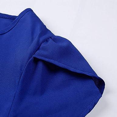 VonVonCo Vestido túnica de Manga Corta con Volantes y Cuello ...