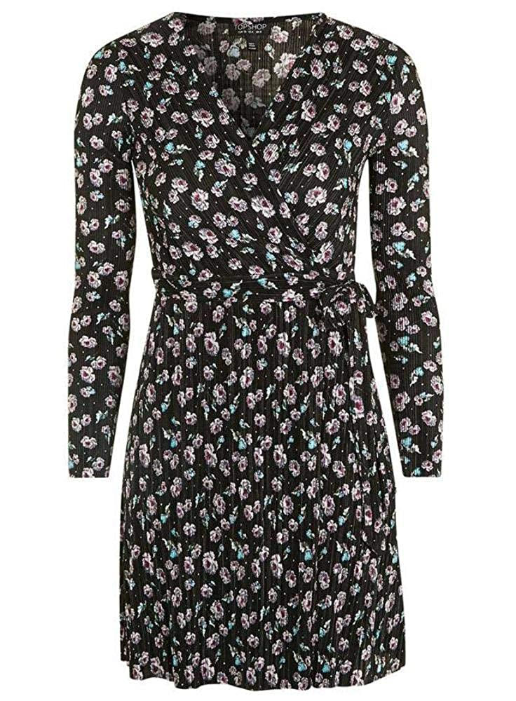 Topshop Wrap Plisse Printed Stars Dress New Pleated Black //Pink UK Sizes 4 only