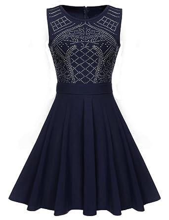 c1c3b4e3b95 ELEOSL Women Ladies Sleeveless Fit and Flare Rhinestone Swing Dresses Blue S