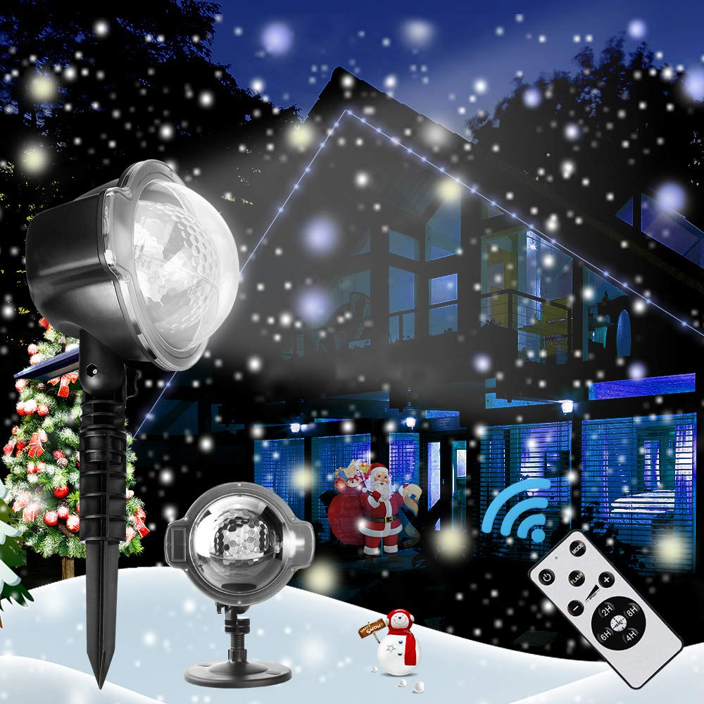 Weihnachtsdekoration LED-Projektor, Weißer schneeflocken rotierende ...