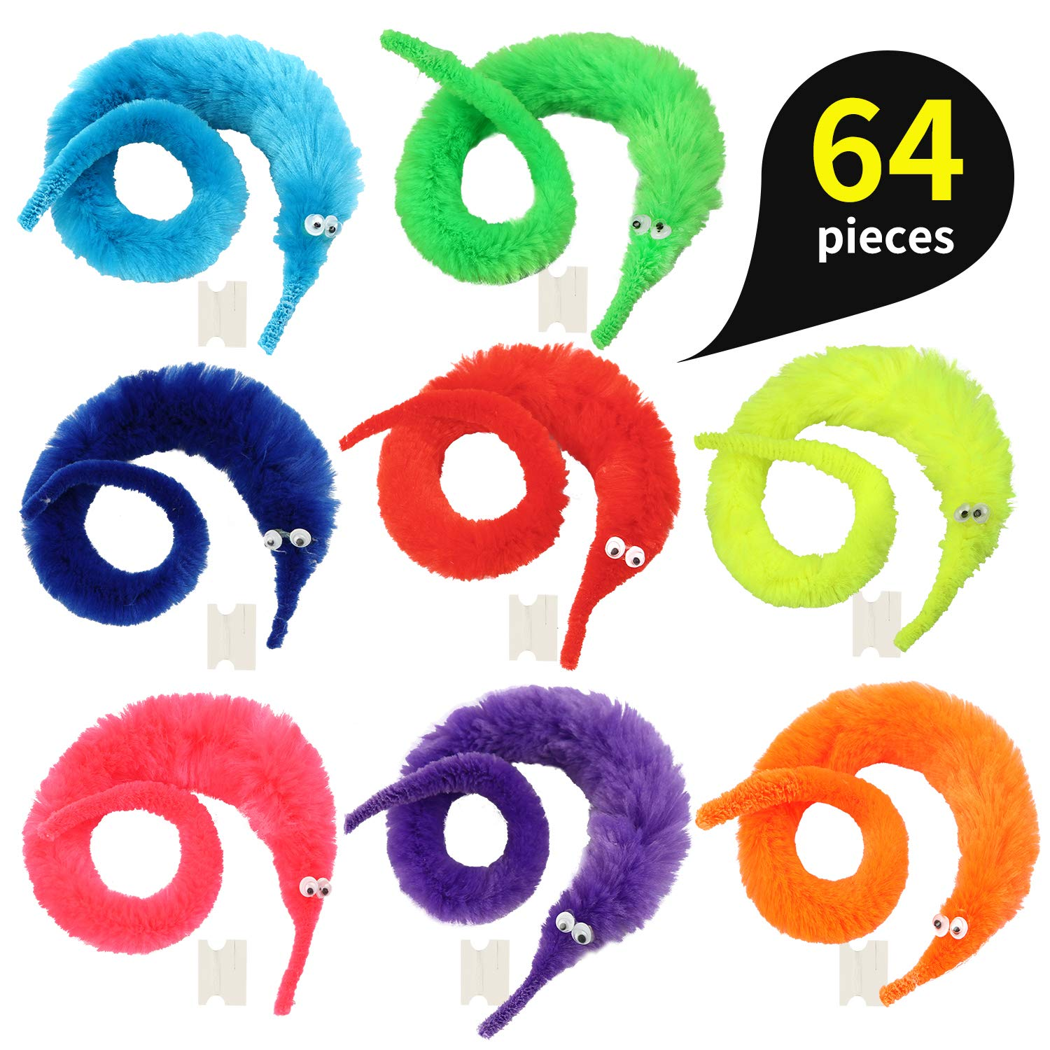 pushang 64pcs Magic Worm Toys, Magic Wiggle Twisty Fuzzy Worm Trick Toy Party Favors (8 Colors) by pushang