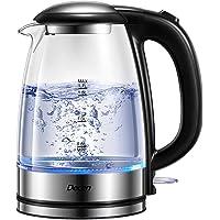DECEN Waterkoker, 2200 W, glas met roestvrijstalen filter, 1,7 liter, borosilicaatglas, theekoker met ledverlichting…