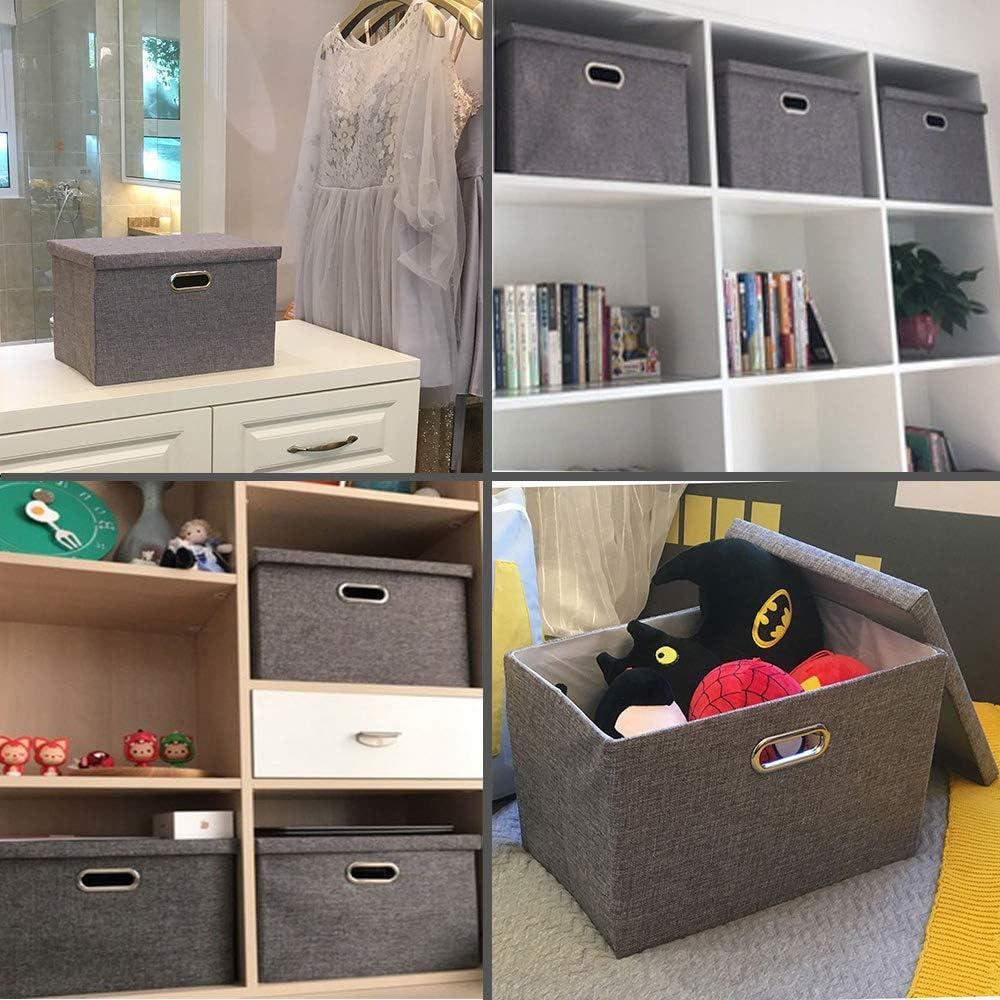 Wintao Faltbare Leinentuch Kleidung Ablagekorb grau 3 Gr/ö/ßen Aufbewahrungsbox S mit Deckel