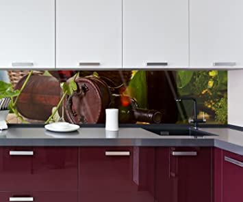 Cocina Pared Trasera Botella con Vino Tinto Design M0831 260 x 60 cm (Ancho x