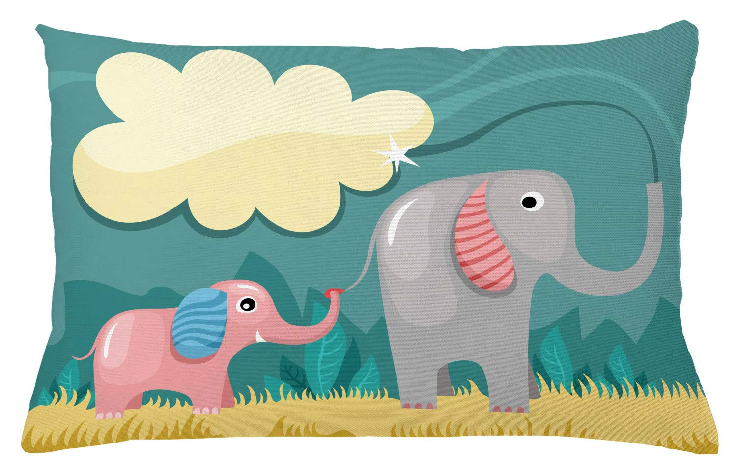 Ambesonne Elephant Throw Pillow Cushion Cover, Nursery Style Graphic of Animal Baby and Mom Pastel Cloud, Decorative Rectangle Accent Pillow Case, 26'' X 16'', Cadet Blue Multicolor
