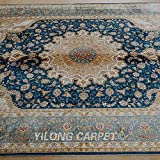 Yilong 5.6 x8.1  Handmade Carpet Classic Persian Qum Medallion Pattern Hand Knotted Silk Area Rugs (Blue) Q1860