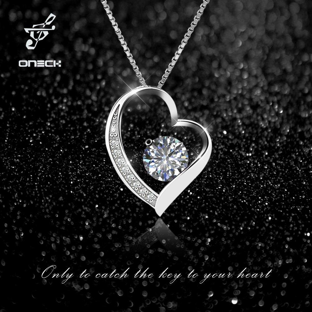 Oxyde de Zirconium Serti ONECK Collier Fantaisie en Argent 925 Bijou Id/éal comme Cadeau pour Femme Fille Pendentif Femme en Coeur avec 45cm Cha/îne Italienne