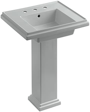 Kohler Tresham Pedestal Sink.Kohler K 2844 8 95 Tresham 24 Inch Pedestal Bathroom Sink With 8 Inch Widespread Faucet Drilling Ice Grey