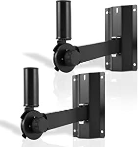 Universal Wall Mount Speaker Bracket - Dual Heavy Duty Metal Studio Adjustable Pole Speaker Mounting Bracket with Tilt & Rotation Adjustment for PA, Bookshelf, Surround Sound Speakers - Pyle PSTNDW18