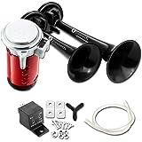 Zone Tech 12V Dual Trumpet Horn - Premium Quality Classic Black Super Loud Powerful Train Sound Shiny Dual Car Van Truck Boat Air Horn