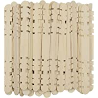 Asian Hobby Crafts Supreme Quality Slotted Wooden Ice Cream Sticks (50 Pieces)