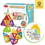 Mia Bambina 56 PCS Mini Magical Magnet I Magnetic Building Blocks | Colourful 3D Magnetic Tiles with Wheels…