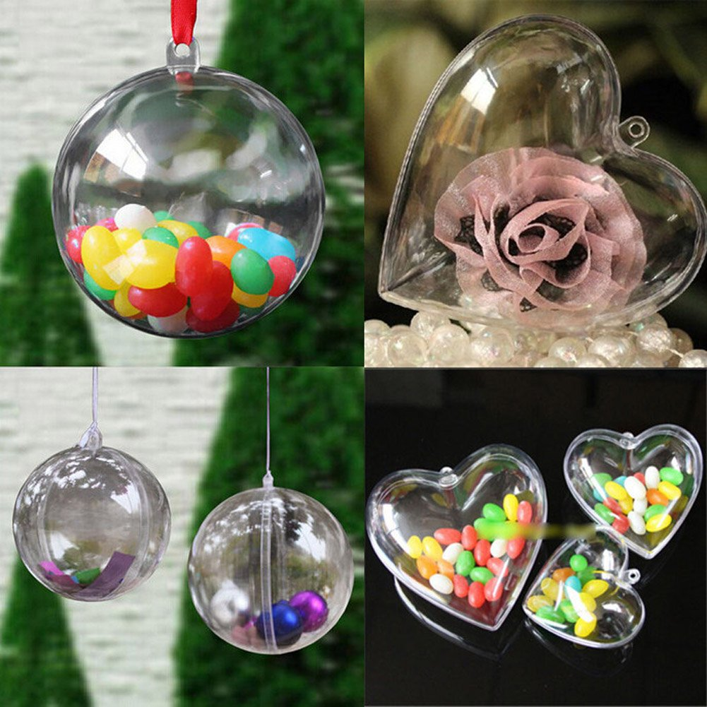 40mm 60mm 80mm 100mm Heart Shape Clear Plastic Acrylic Fillable Ball  Ornament Diy Christmas Tree Ball Fillable Candy Box Pack Of 5 (5pcsball40mm):