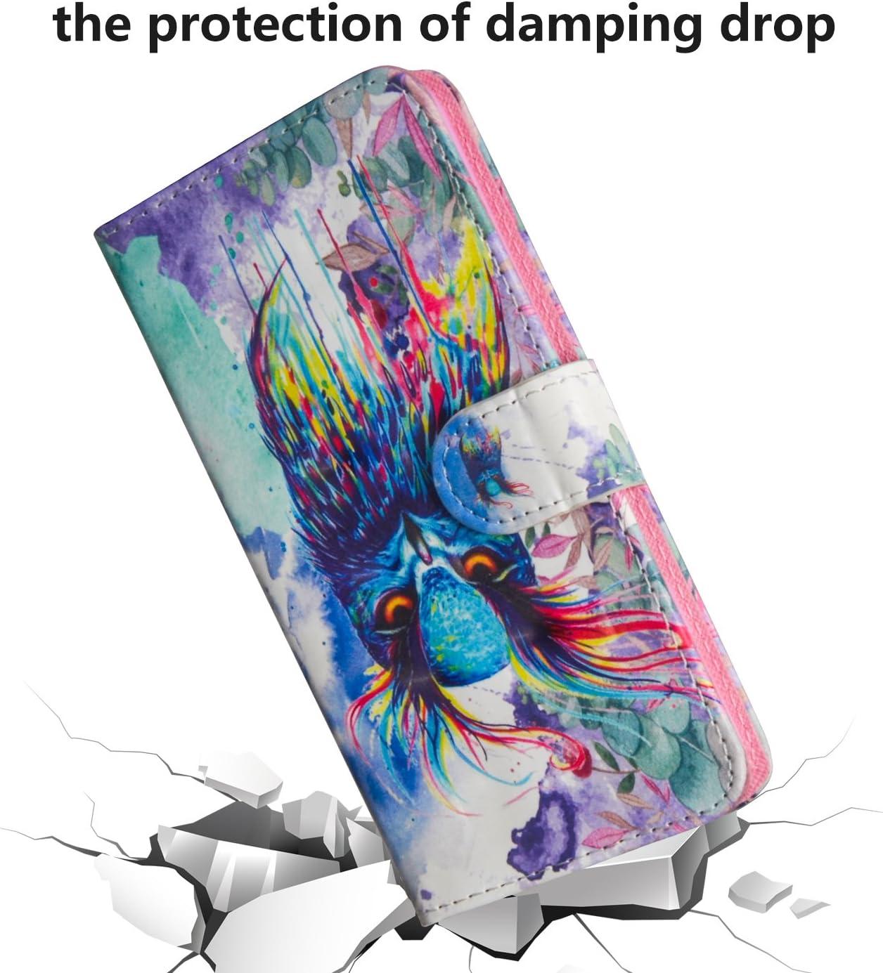 Karomenic PU Cuir Coque Compatible avec Samsung Galaxy S8 3D Dessin anim/é Folio Housse de Protection Portefeuille Fonction Support Magn/étique Porte Carte Etui /à Rabat Wallet Flip Case,Papillon#