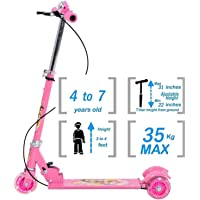fexle enterprise,3 Wheeler Foldable Scooter with Brake and Bell, LED on Wheels and Height Adjustable Up to 76cm for Boys and Girls (5-10 Years)(Multicolor)