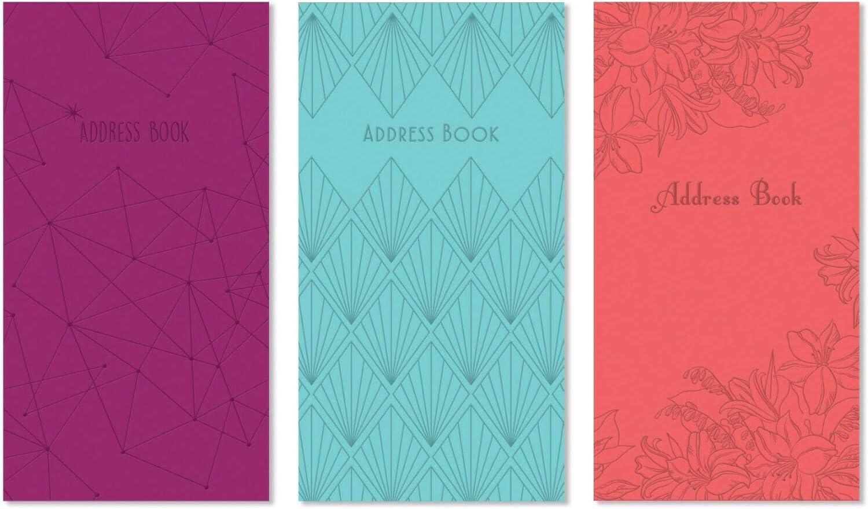 Telefonbuch mit gepr/ägtem Adressbuch schmale Gr/ö/ße Geburtstags- und Notizblock Tagebuch mit Index Blauer Abstrakt