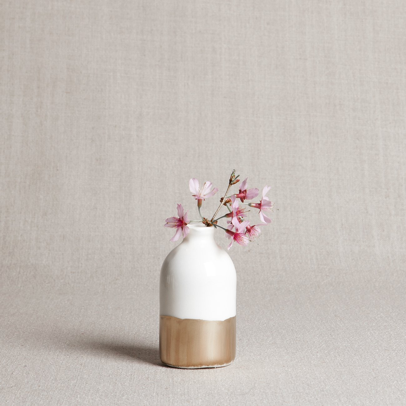 Porcelain Bud Vase: White + Gold