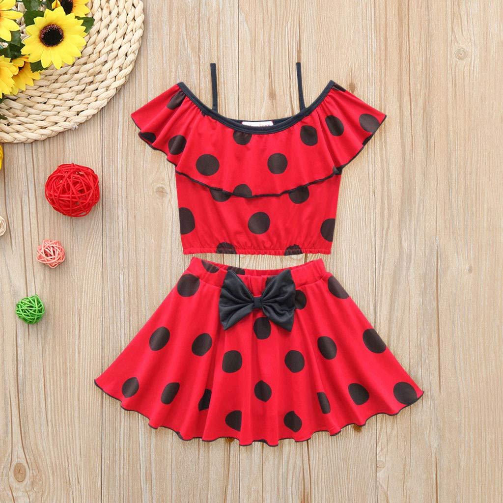 Hattfart Baby Girls 2pcs Dot Print Bow Ruffle Off Sholder Skirt Sets Swimsuit Bathing Suits