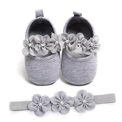 Edoton 2 Pcs Kleinkind Schuhe Stirnband Baby Mädchen Blumen Schuh Anti Rutsch Weiche Besondere Anlässe Taufe Hochzeit Party Schuhe