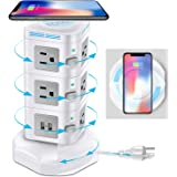Power Strip Surge Protector , ODOM Power Strips Tower with Fast Wireless Charger, 4 USB Ports + 10 Outlets + 6 ft Extension C