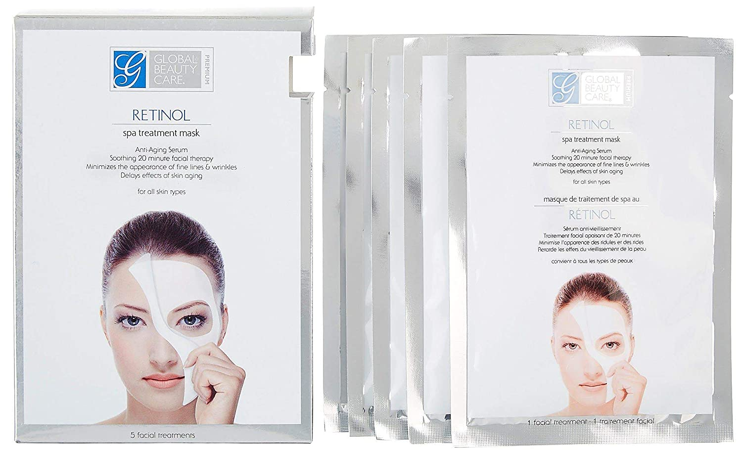 Global Beauty Care Retinol Spa Anti-Aging Treatment Mask Pack of 5