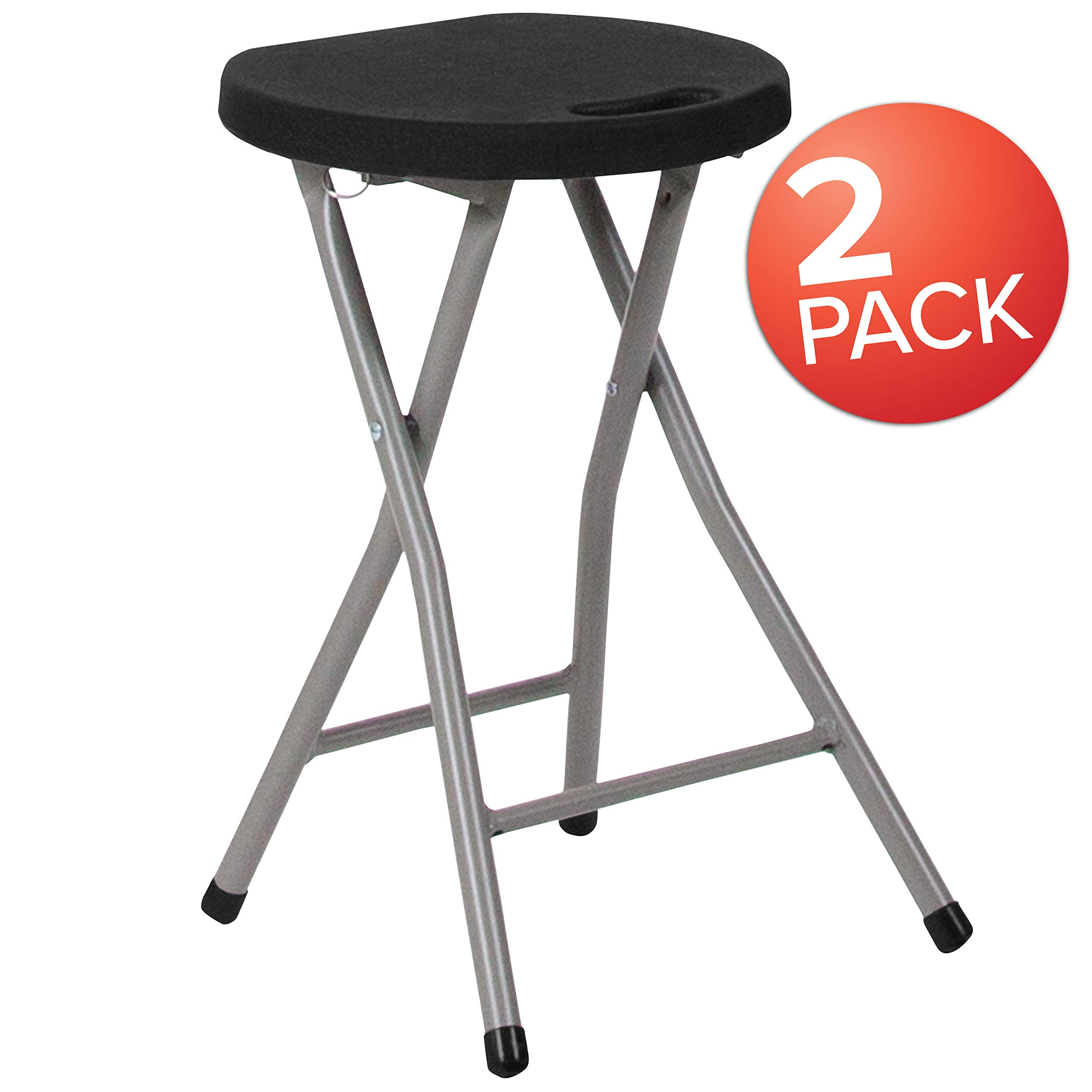 Flash Furniture 2 Pk. Foldable Stool with Black Plastic Seat and Titanium Frame by Flash Furniture