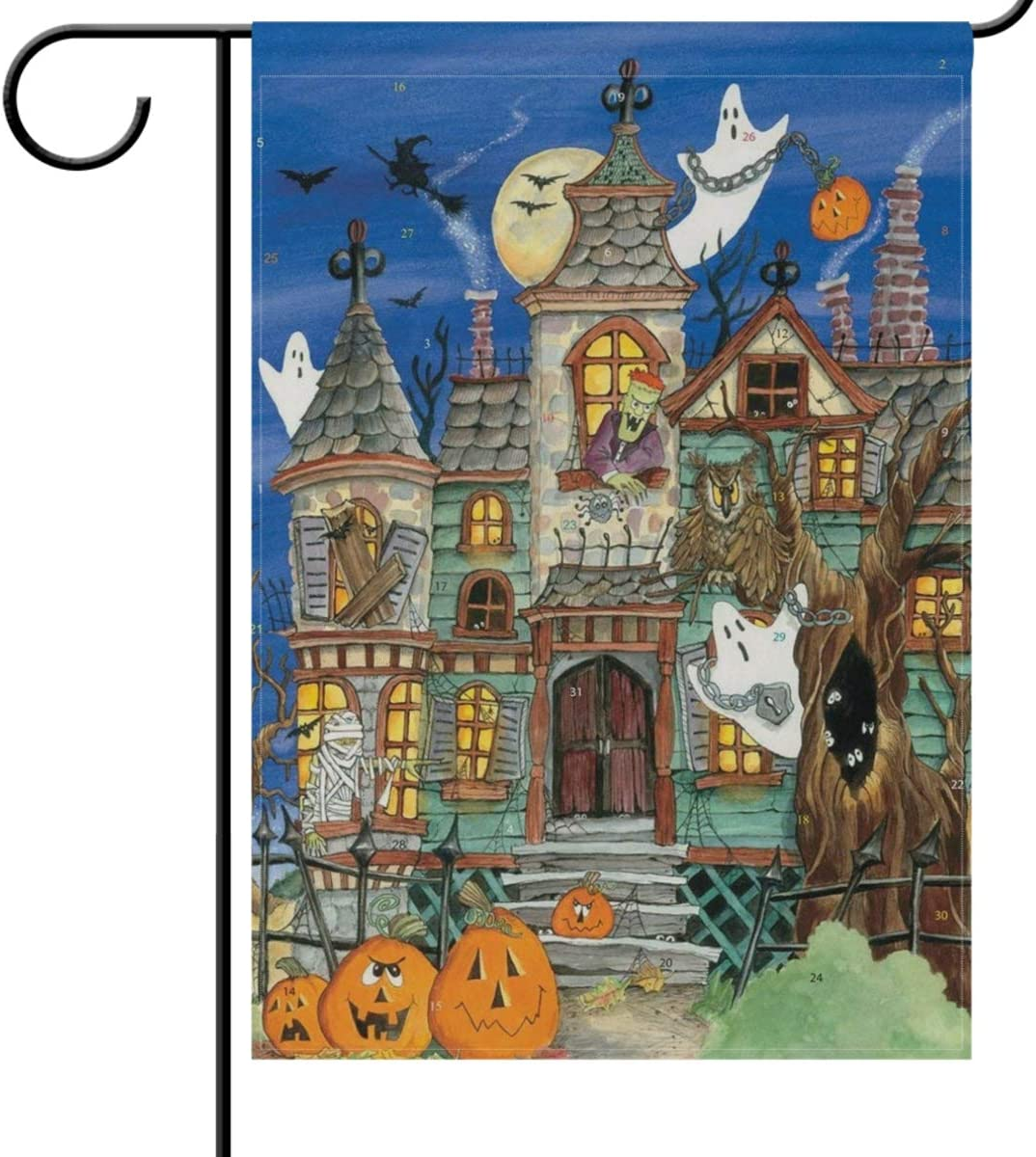 Wamika Halloween Garden Flag 12 X 18 Double Sided Haunted House Witch Ghost Punpkins Owl Funny Scary Welcome Autumn Fall Holiday Outdoor Yard House Flags Banner For Party Home Decor