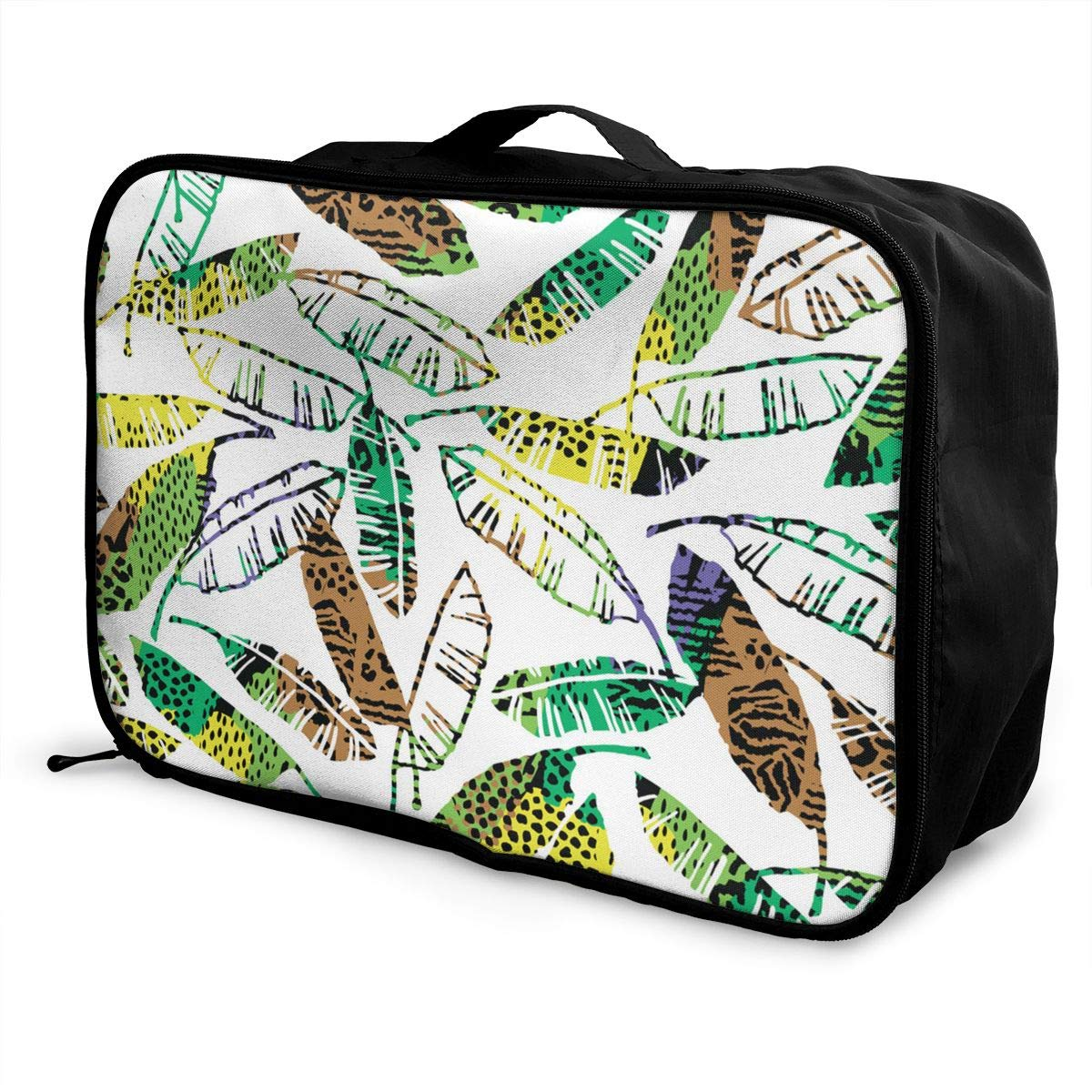 ADGAI Seamless Exotic Pattern with Palm Leaves Canvas Travel Weekender Bag,Fashion Custom Lightweight Large Capacity Portable Luggage Bag,Suitcase Trolley Bag