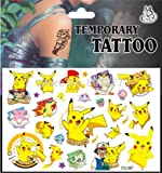 Great for Party Bags / Gfts - Latest Pokemon Pikachu Temporary Tattoos for Children Kids, Safe and Easy to Use - Passed all EU Regulations - from Very Bazaar