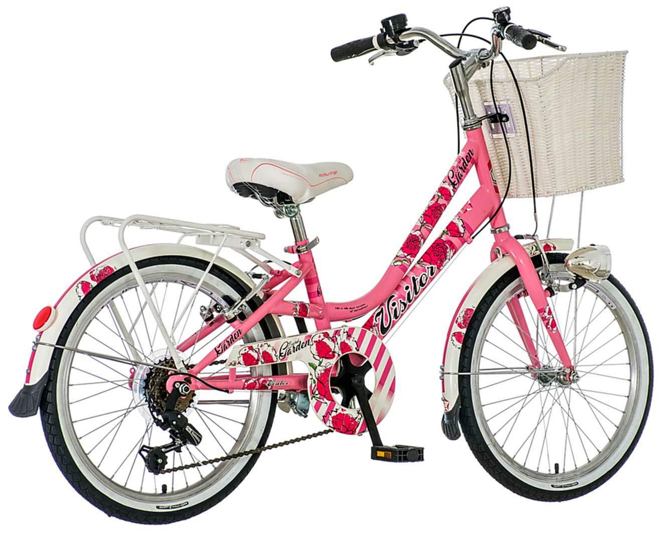 Breluxx 20 Zoll Kinderfahrrad Venera Fashion Secret Garden Citybike Korb + Licht Retro Mädchenrad, 6 Gang Shimano