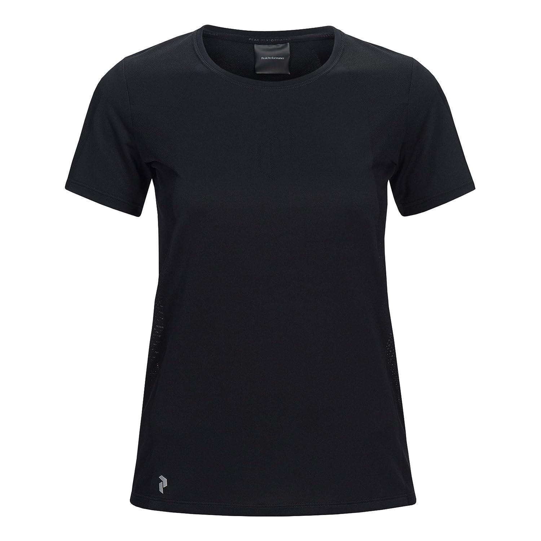 Peak Performance Damen Map Tee Laufbekleidung T-Shirt Schwarz - Weiß 34