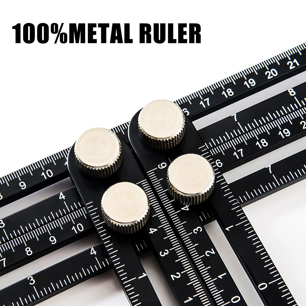 Zyan Heavy Duty Template Tool - Ultimate Multi Angle Ruler - for Measuring Angles - Made of Premium Metal Alloy- Adjustable Knobs for Precise Measurement- w/Instruction Manual by Zyan (Image #3)