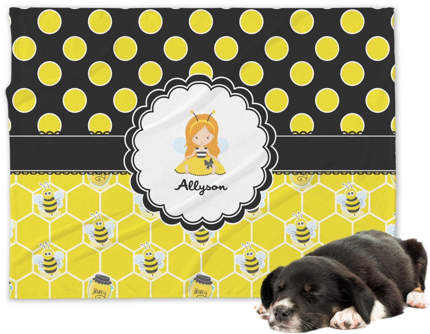 RNK Shops Honeycomb, Bees & Polka Dots Minky Dog Blanket - Regular (Personalized)