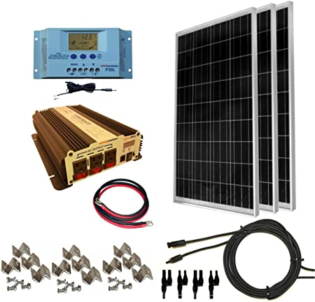 Windynation 300 Watt 3pcs 100 Watt Solar Panel Kit With 1500w Vertamax Power Inverter For Rv Boat Off Grid 12 Volt Battery Systems Amazon Ca Patio Lawn Garden