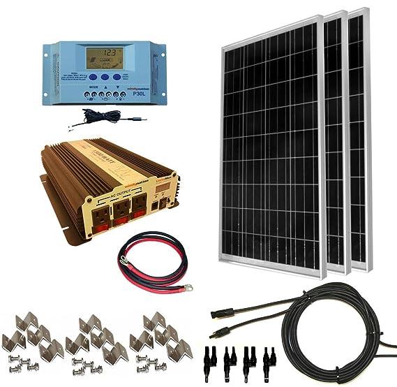 Amazon com : Complete 300 Watt Solar Panel Kit with 1500W