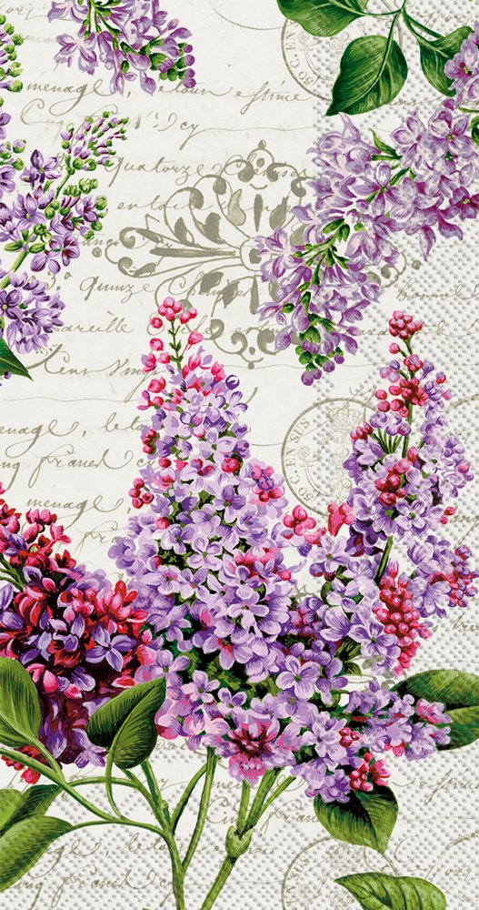 Celebrate the Home Floral 3-Ply Paper Guest/Buffet Napkins, Lilac Letter, 20-Count