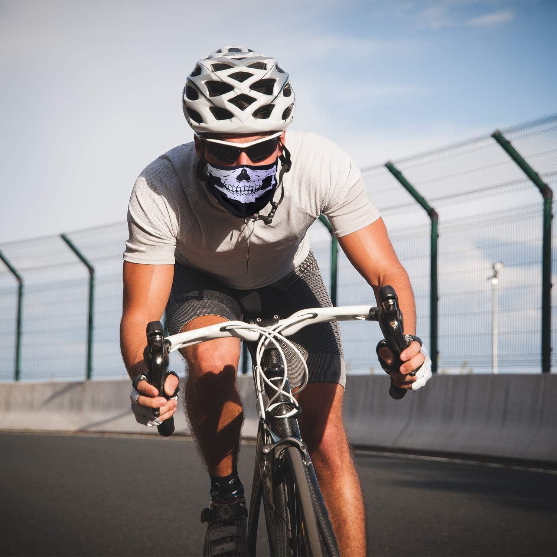 Elcoho Skull Face Mask Skull Face Tube Skull Bandanas Motorcycle Biker Face Skull Mask Half Sun Protection Mask for Outdoors