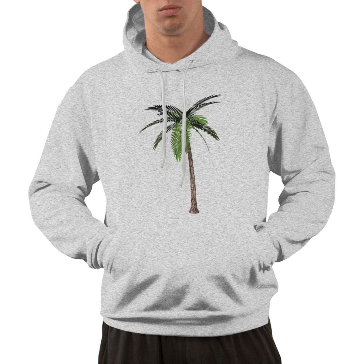 KEQ/&JSW Mens EcoSmart Sweatshirt Hoodie Palm Tree Sport Outwear with Kanga Pocket