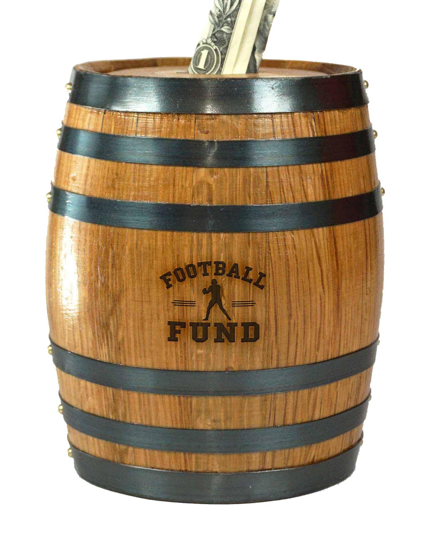 Mini Oak Barrel Piggy Bank Fund for Various Sports (Football Fund)