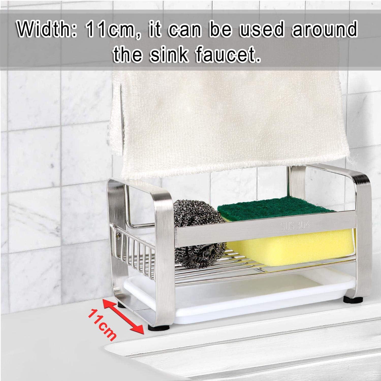 Porte-/éponge Hulisen pour /évier de cuisine avec plateau amovible Porte-/éponge avec tige pour torchon