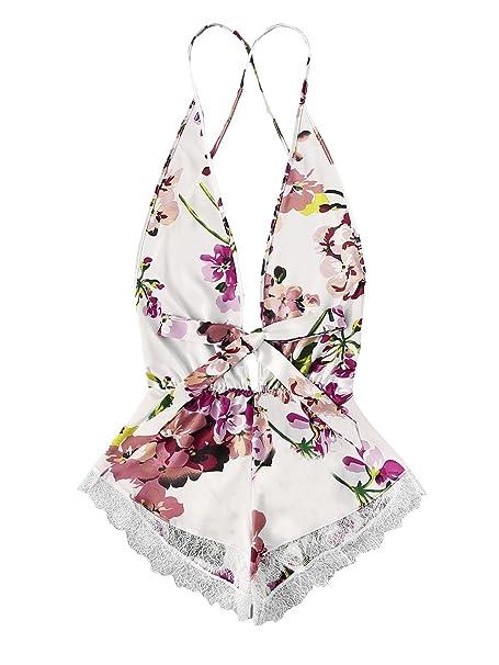 3f2bdd8580 Image Unavailable. Image not available for. Color  SweatyRocks Women s Lace  Babydoll Bodysuit V Neck Lingerie Nightwear Floral Print Sleepwear Romper  ...