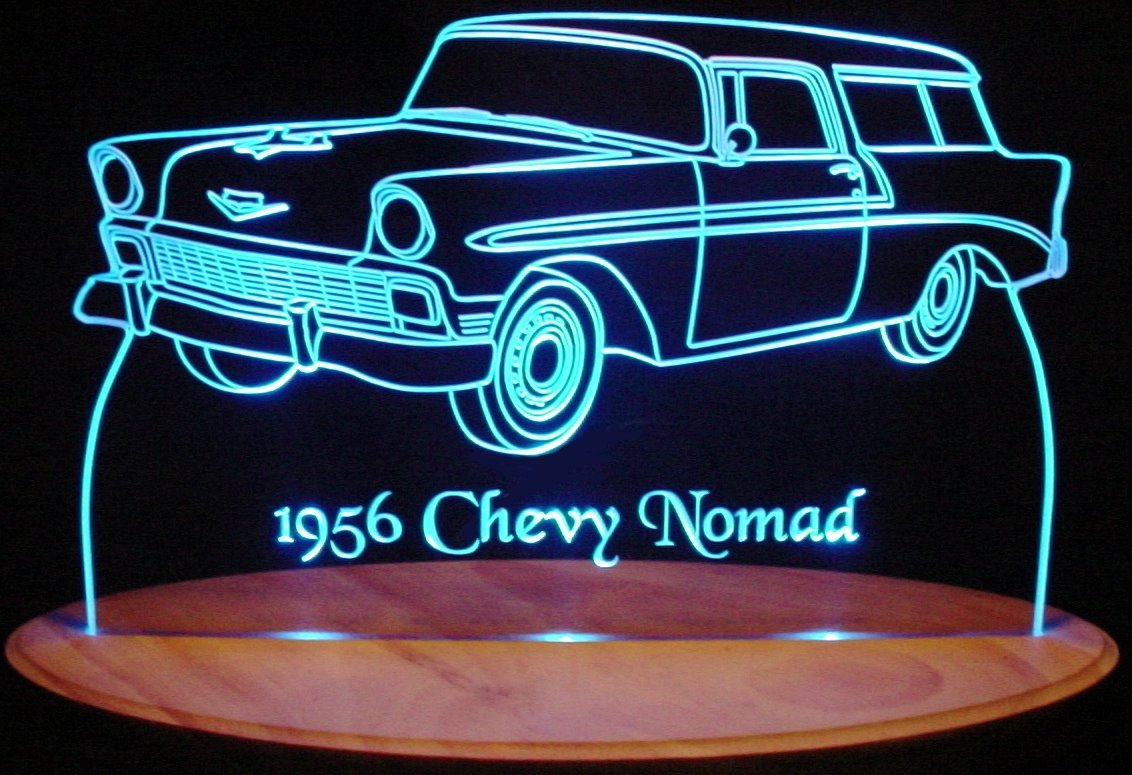 1956 Chevy Nomad Acrylic Lighted Edge Lit 13'' LED Sign / Light Up Plaque 56 VVD1 Full Size USA Original by ValleyDesignsND