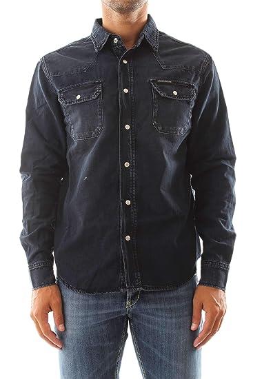 16ed6ae1aaa Calvin Klein Jeans J30J308324 Archive Western Shirt Men Denim Dark Blue S   Amazon.co.uk  Clothing