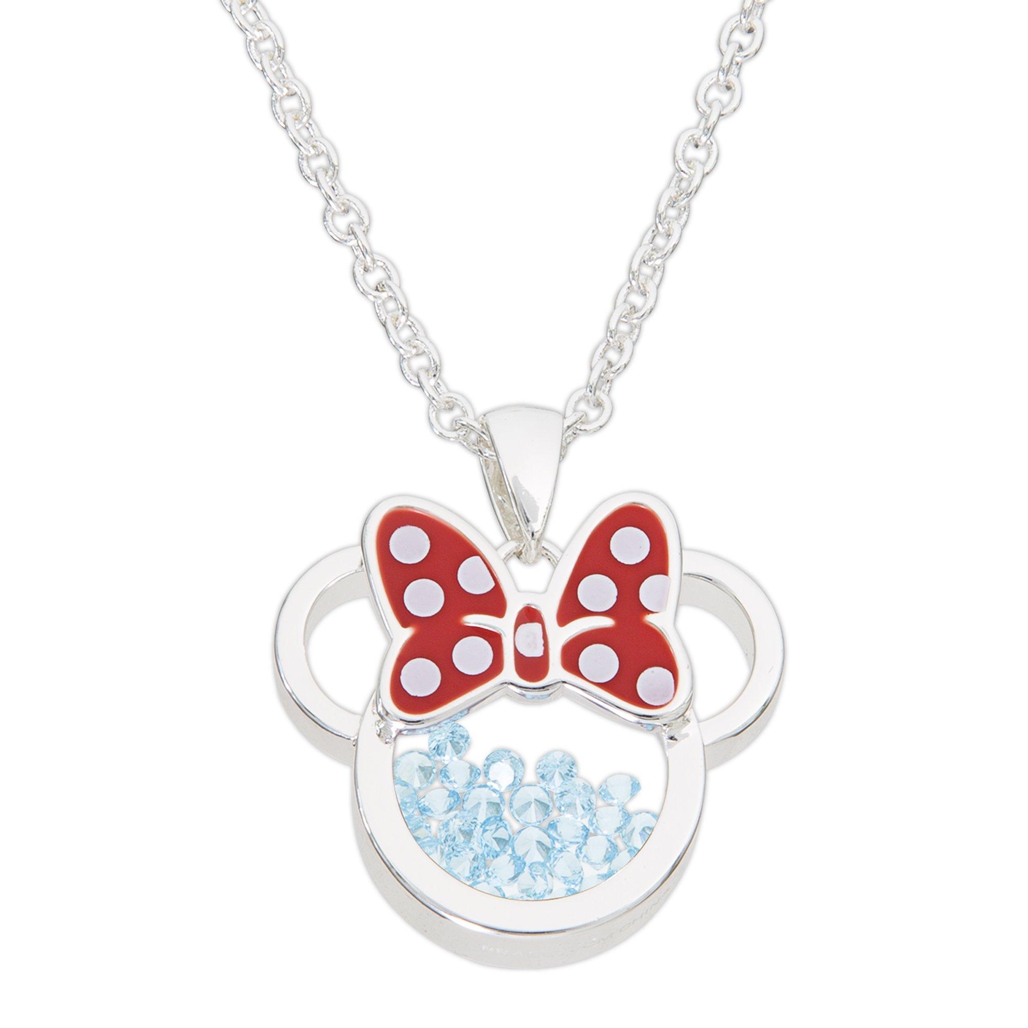 Disney Birthstone Women and Girls Jewelry Minnie Mouse Silver Plated March Aquamarine Light Blue Swarovski Cubic Zirconia Shaker Pendant Necklace, 18+2'' Extender Mickey's 90th Birthday Anniversary